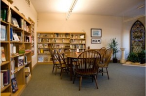 The library houses a small but significant collection of contemporary and classic spiritual writings, and was recently enriched by the bequest of many volumes from the personal library of Tom Uhle.