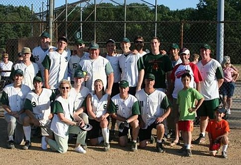 2008 Softball Champs - Back row: Jeff Phillips, John Obery, Dana Obery, Matt Winters, Daryl Musick, John Lentz, Keith Logan, Bob Brock, Chris Batcheller, Brian West, Tom Keefe, Dan Shaner Front Row: Kevin Steiner, Roger Heineman, Hazel Grant, Jason Hidek, Loren Wyss, Scott Lafferty, David Burleigh (Boys: Grant Heineman, Will Burleigh)