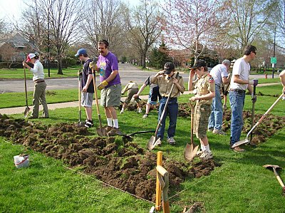 "Enthusiastic volunteers helped ""bust the sod"" for Abundance Acres"